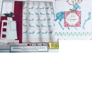 Christmas Fabric Shower Curtain Reindeer Plaid